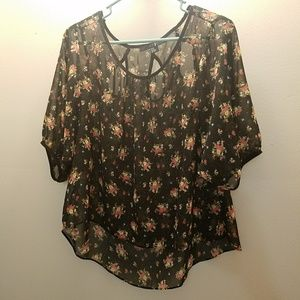 🌸Black and Floral Print Sheer Blouse 🌸
